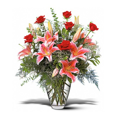 Same Day Flower Delivery - Red Roses and Stargazers