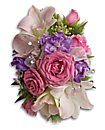 purple pink and white blooms faux pearl cuff Pink dendrobium orchids