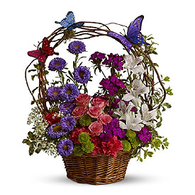 Same Day Flower Delivery - Basket Arrangement Of Flowers