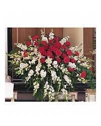Red and White Casket Srpay